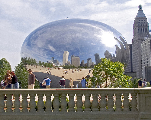Cloud Gate, known as The Bean, is a sculpture by Anish Kapoor located in Millennium Park in Downtown Chicago. — Photo by Scott Kleinberg