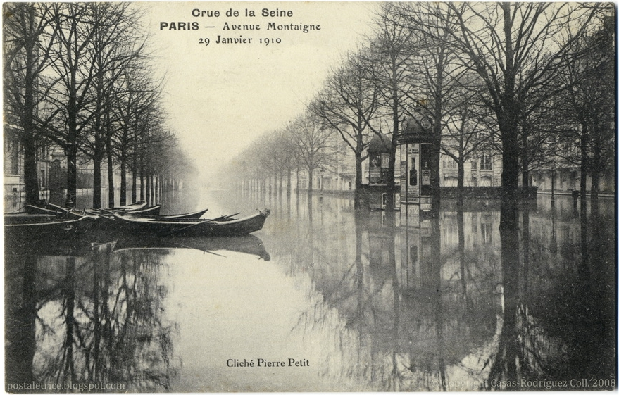 Paris Under the Waters: Avenue Montaigne (January 29th, 1910) — Cliché Pierre Petit, Paris