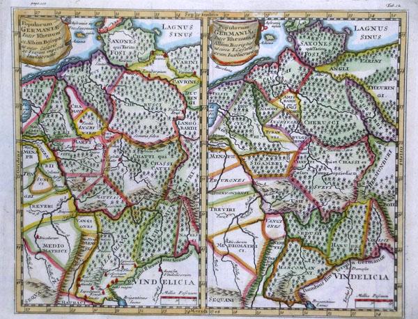 Mappe della Germania ai tempi di Traiano e Cesare — 1730