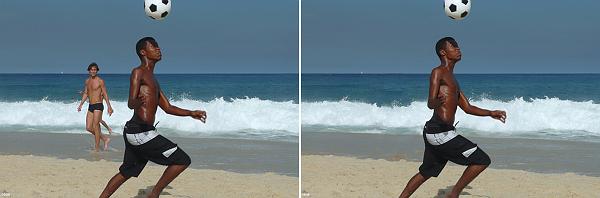 Boy playing soccer at the beach — photo by Armando Lobos