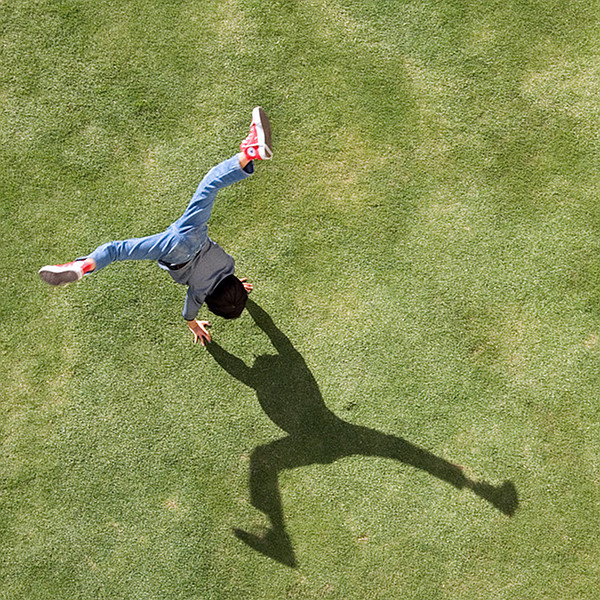 cartwheel on grass seen from above — photo by David Gandy