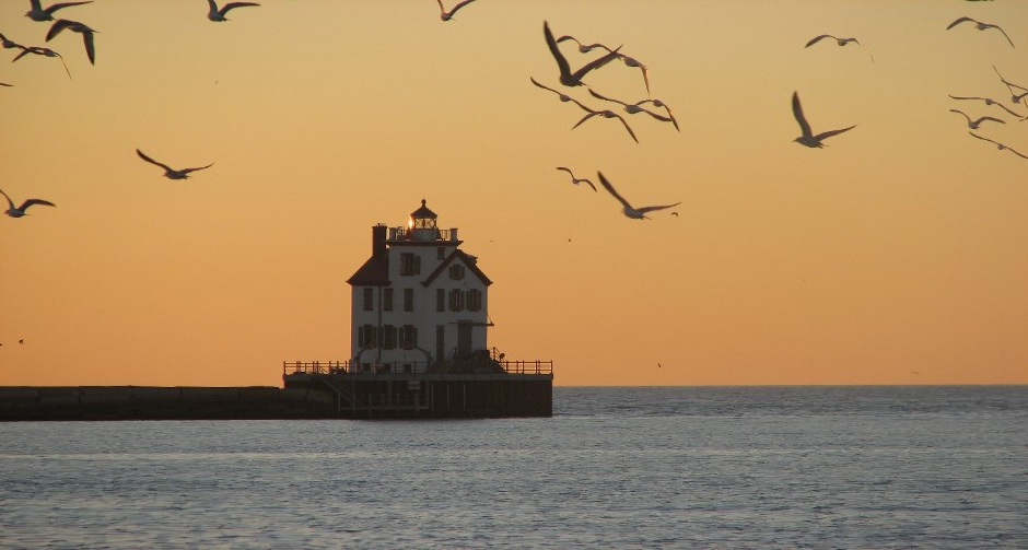 Lorain lighthouse and seagulls — photo by Rona Proudfoot