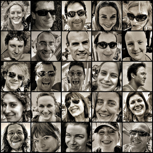 Mosaic of smiling faces — photo by strollerdos
